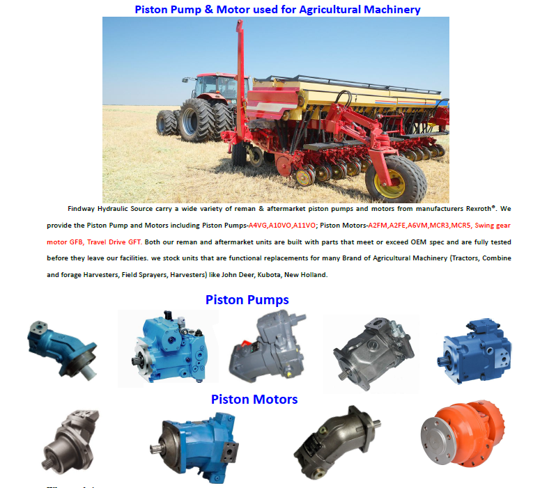 Piston pump and motor used for Agricultural machinery